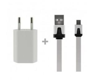 Cargador de casa USB 1A + Cable Micro USB Dataflat